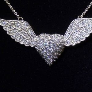 Diamonique heart with angel wings necklace